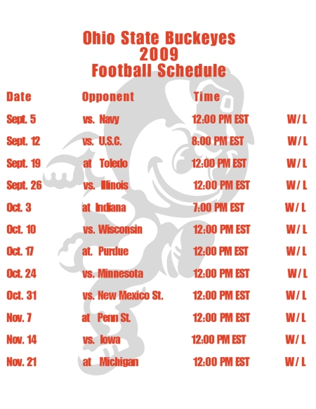 09 Buckeyes Schedule